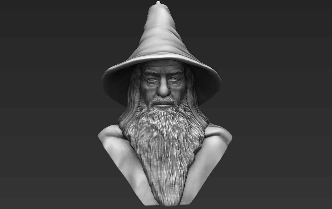 Gandalf Lord of the Rings bust 3D printing ready stl obj formats