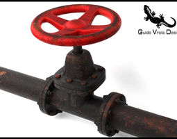 3D Aged Industrial Pipe Valve
