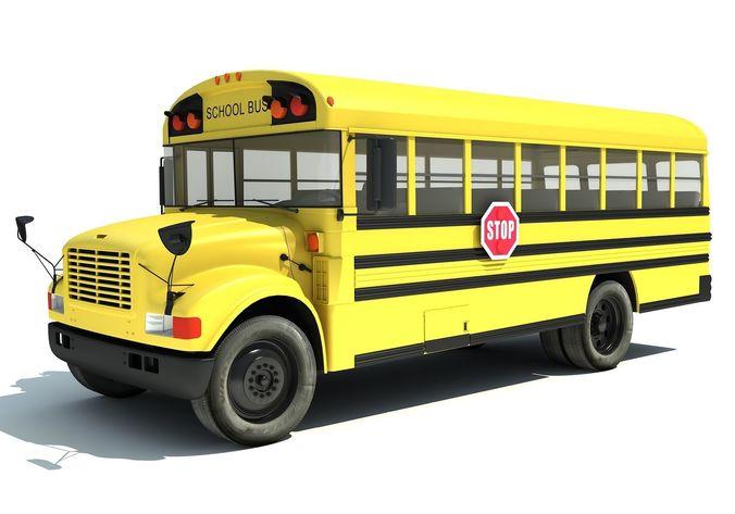 school bus 3d model max obj 3ds fbx c4d lwo lw lws 1