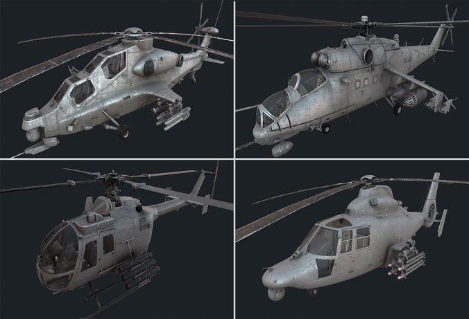 holicopter pack 3d model max obj fbx blend 1