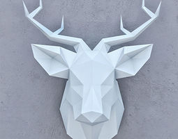 poligon 3D model SMOLL DEER PAPER HEAD