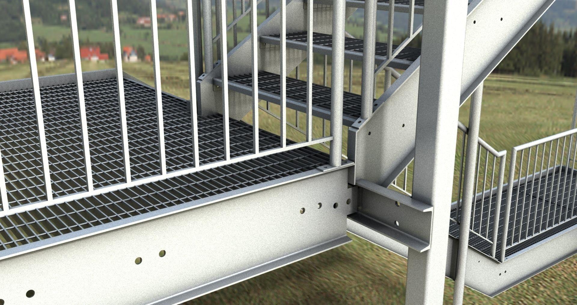 Genial ... Galvanized Steel Stair Dwg 3d Model Dwg 2