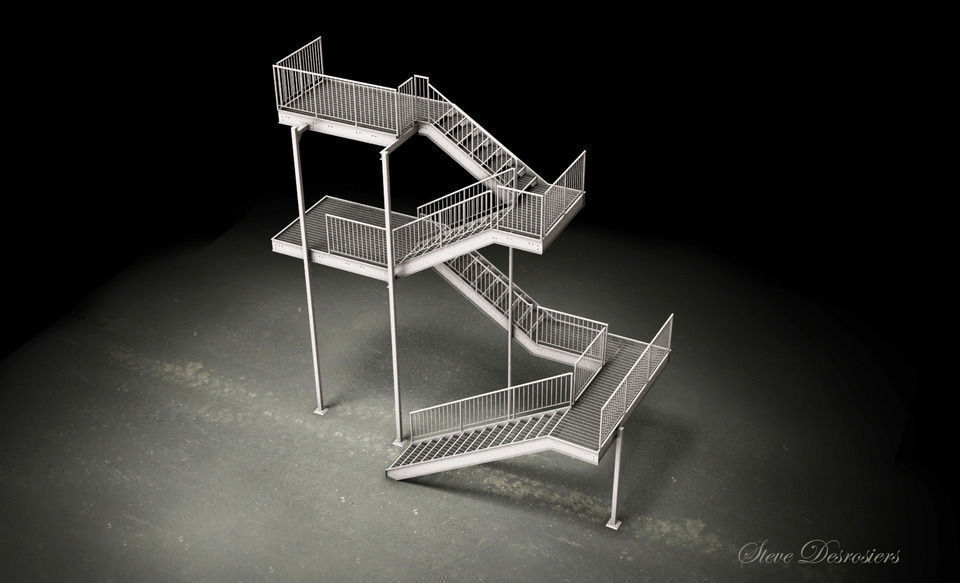 galvanized steel stair dwg 3d cgtrader