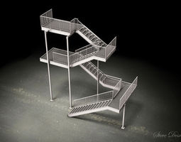 Galvanized Steel stair dwg 3D