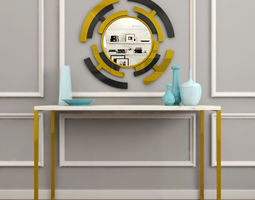 3D asset MODERN MIRROR WITH DECORATIVE ITEMS