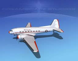 Dreamscape DC-3 American Airlines 3D Model