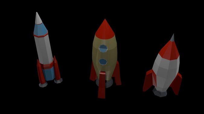 low poly rockets 3d model low-poly obj mtl 3ds fbx blend x3d ply 1
