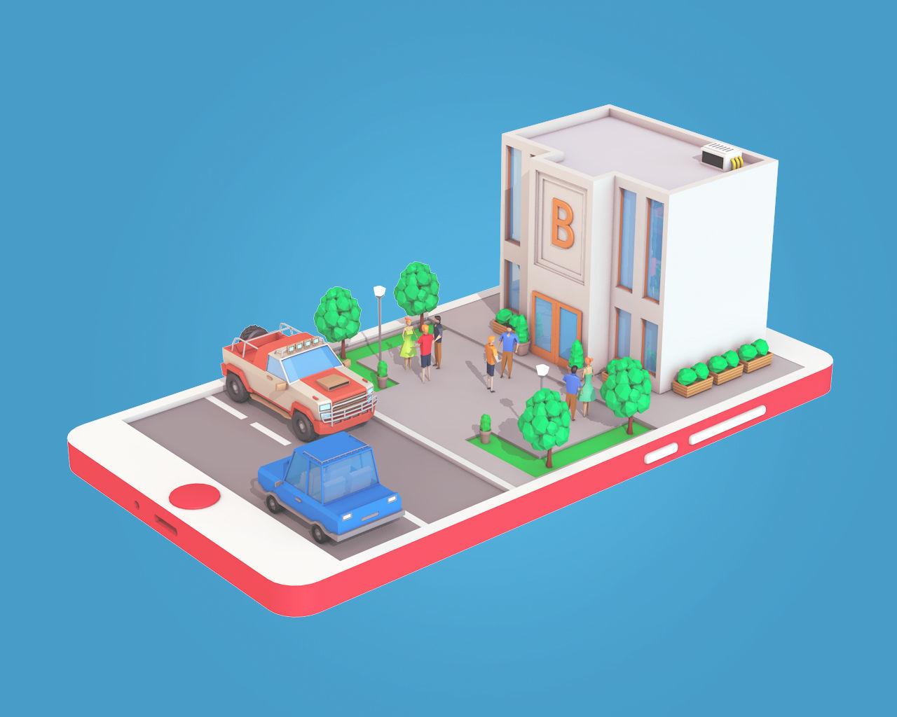 Cartoon Bank Building On Phone Screen 3d Asset Game Ready