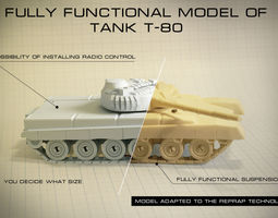 Tank T-80  fully functional model 3D Model