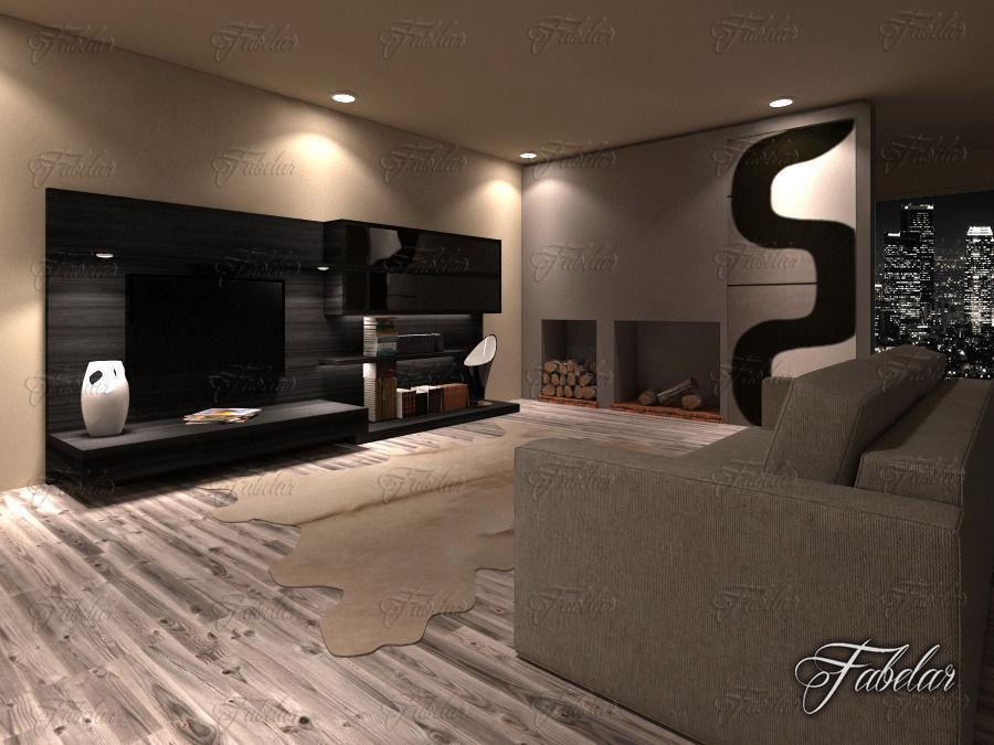 Living Room 19 Night 3d Model Max Obj Fbx C4d Dae 1
