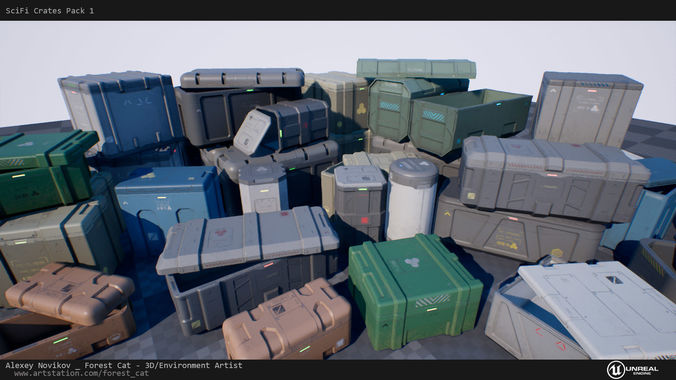 scifi crates pack 1 unity ue4 low poly game ready 3d model low-poly fbx unitypackage prefab uasset 1