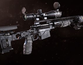 3D XM2010 Sniper Rifle - Mid Poly