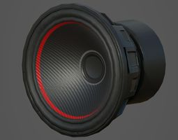 3D asset Car Audio System Speakers and Box Low Poly