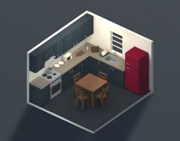 3D asset Low Poly Modular Kitchen