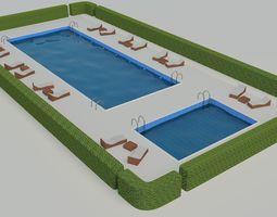 3d model swimming pool scene