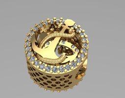 3D print model ship anchor charm ball