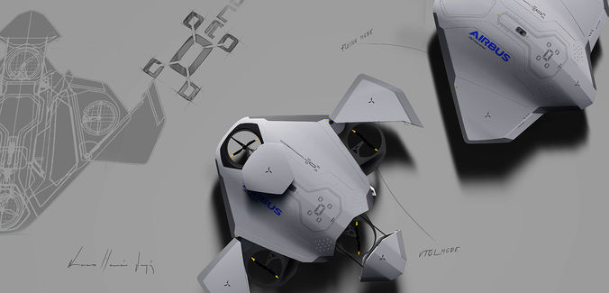 andromeda airbus drone 3d model low-poly obj mtl 3ds fbx 3dm ige igs iges 1