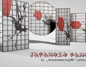 3D asset Lowpoly Japanese Doors