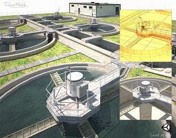 3D asset Water Treatment Plant Low Poly