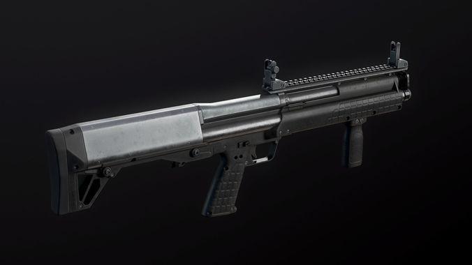 kel-tec ksg shotgun 3d model max obj 3ds fbx tga unitypackage 1