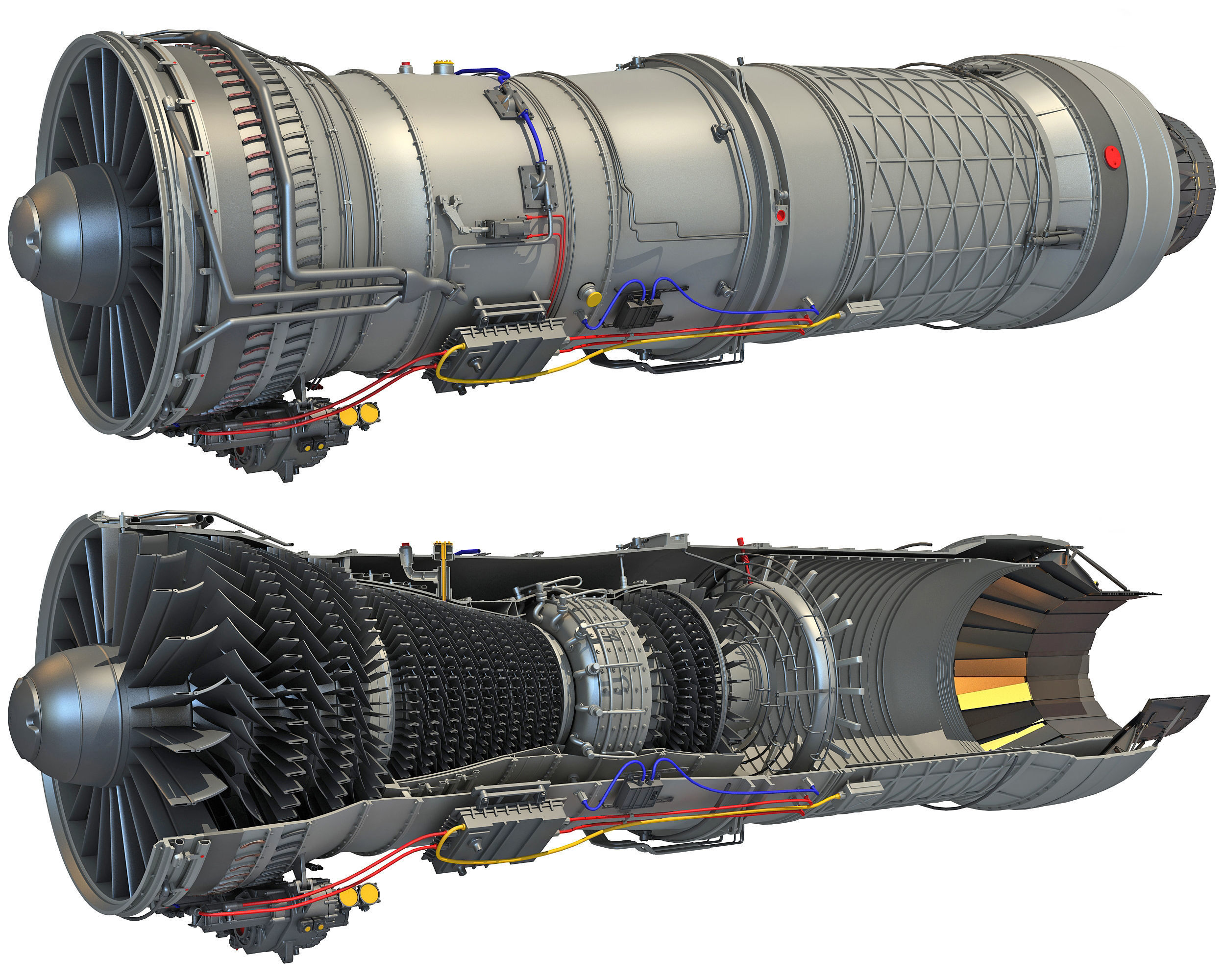 Complete and Sectioned Afterburning Turbofan Engine