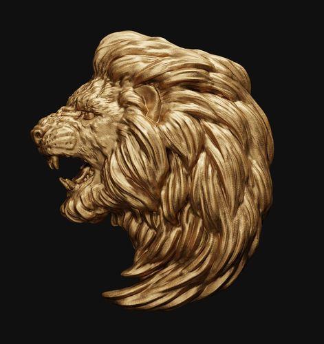 lion head relief 2 3d model obj mtl fbx stl blend 1