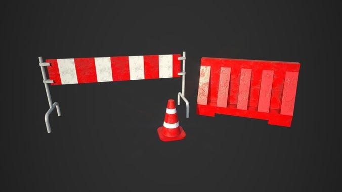 road blocks 3d model low-poly obj mtl fbx 1