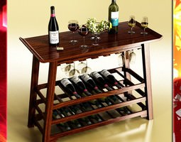 Wine Rack Table Bottles Cups and Grapes 3D Model