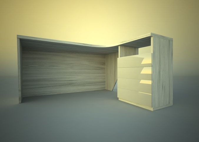 Desk corner with drawers