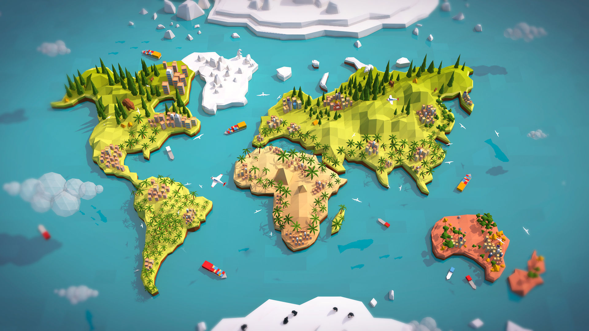 3D World Map Cartoon Low Poly Earth World Map 3D model | CGTrader