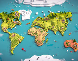 Cartoon Low Poly Earth World Map 3D model