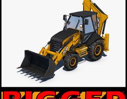 3D JCB Backhoe loader Rigged