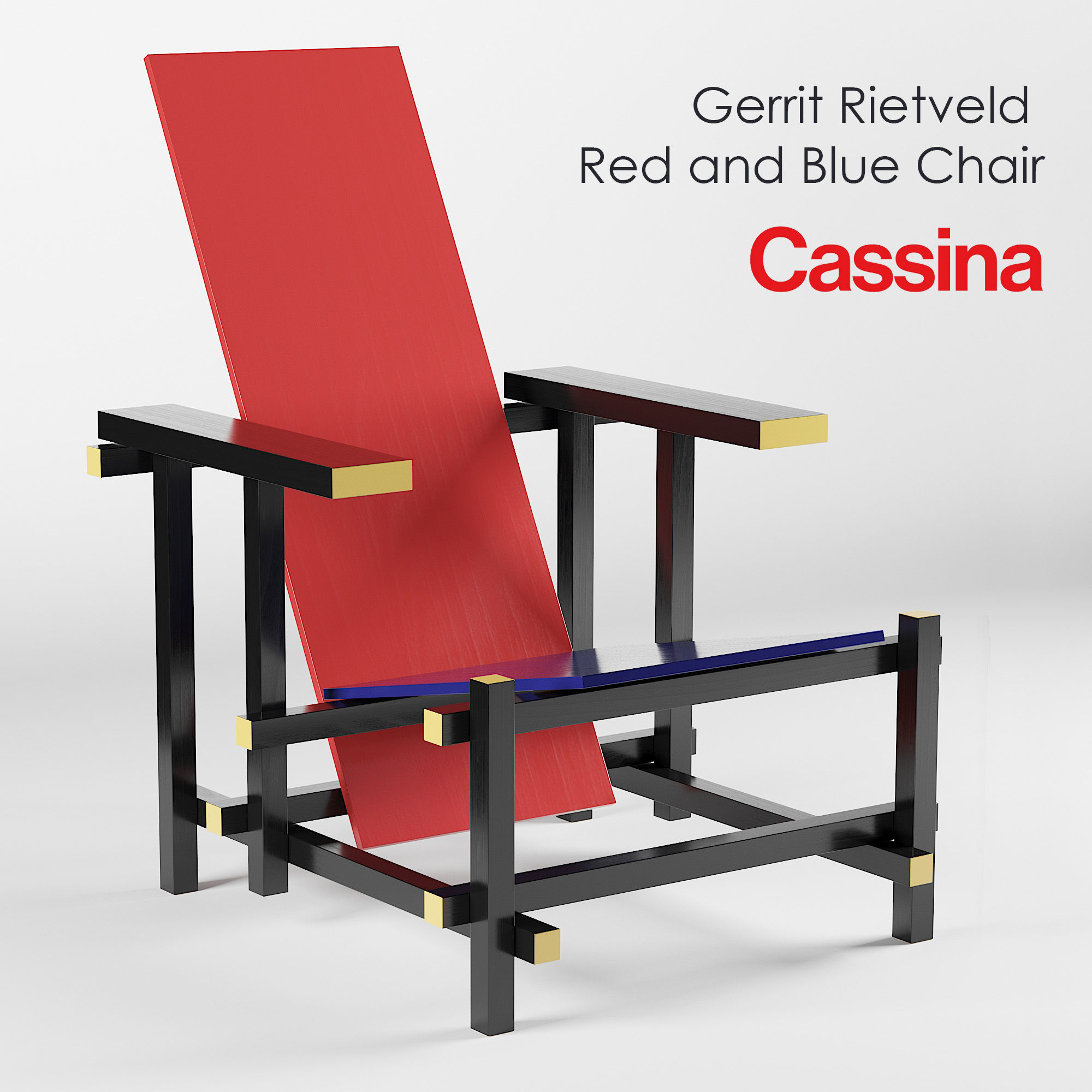 Cassina Gerrit Rietveld Red and Blue Chair 3D modelGerrit Rietveld Chair