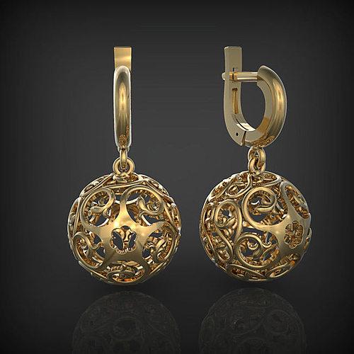 earrings - ball 3d model stl 3dm 1