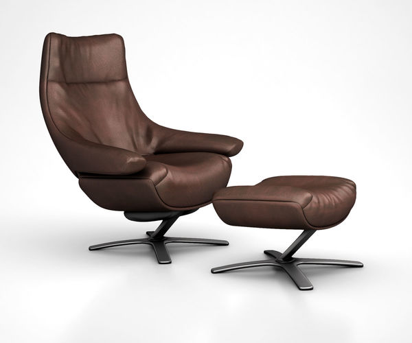 Natuzzi Re Vive Leather Recliner And Ottoman Set By West Elm 3D Model