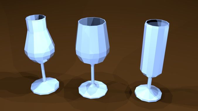 low poly glasses 3d model low-poly obj mtl 3ds fbx blend x3d ply 1