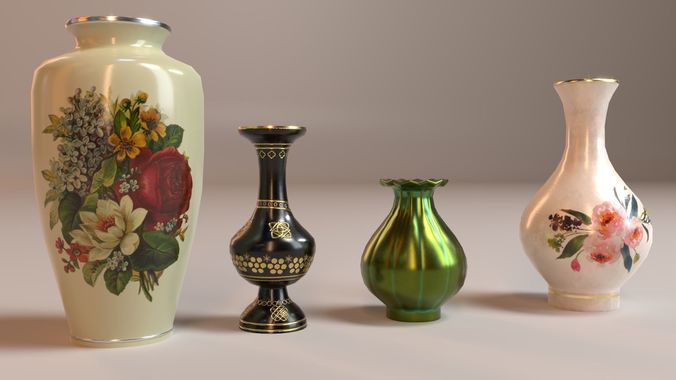 pbr vintage decor vases 3d model low-poly obj mtl 3ds fbx dae 1