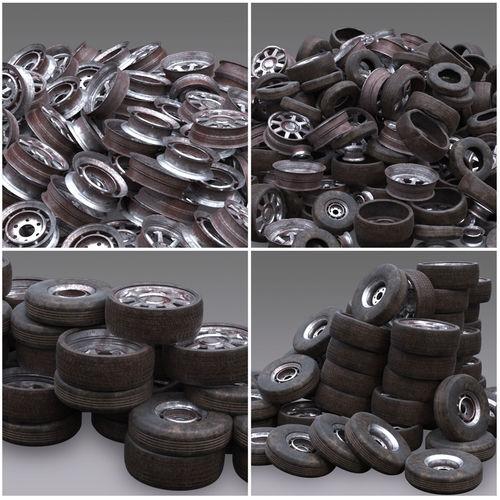 junk yard tire pile 3d model max obj mtl fbx abc 1