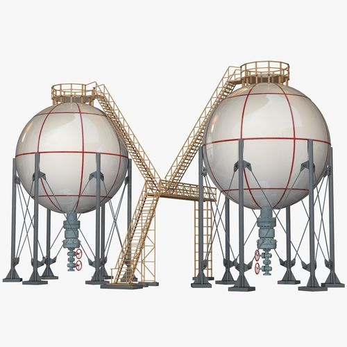 industrial storage spherical tanks 3d model obj mtl 3ds fbx c4d dxf dae 1