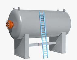 Industrial Boiler with Blue Ladder 3D