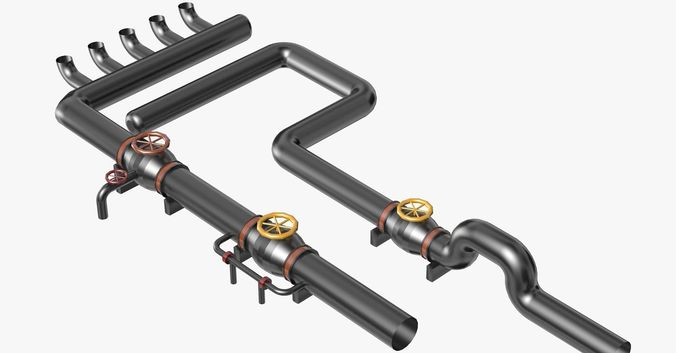 black industrial pipes model 3d model obj mtl 3ds fbx c4d dxf dae 1