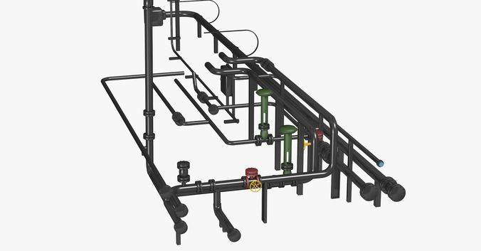 black industrial pipes 3d model obj 3ds fbx c4d dxf dae 1
