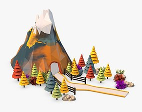 3D model Landscape with Mountain Low Poly