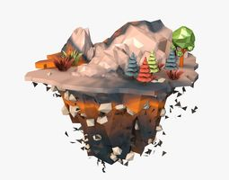 3D model Floating Landscape Island Low Poly