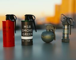 3D model Grenades Pack Collection - M67 - AN-M18 Smoke- 3
