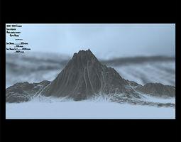 3D asset game-ready snow mountain 6