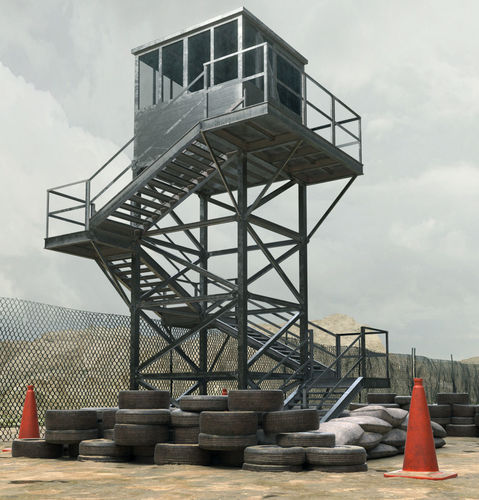 military watch tower 3d model low-poly max obj mtl fbx 1