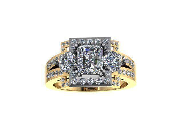 ring  3 stone 2 tone  3d model stl 3dm 1