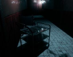 Low poly interior horror scene hallway 3D asset low-poly