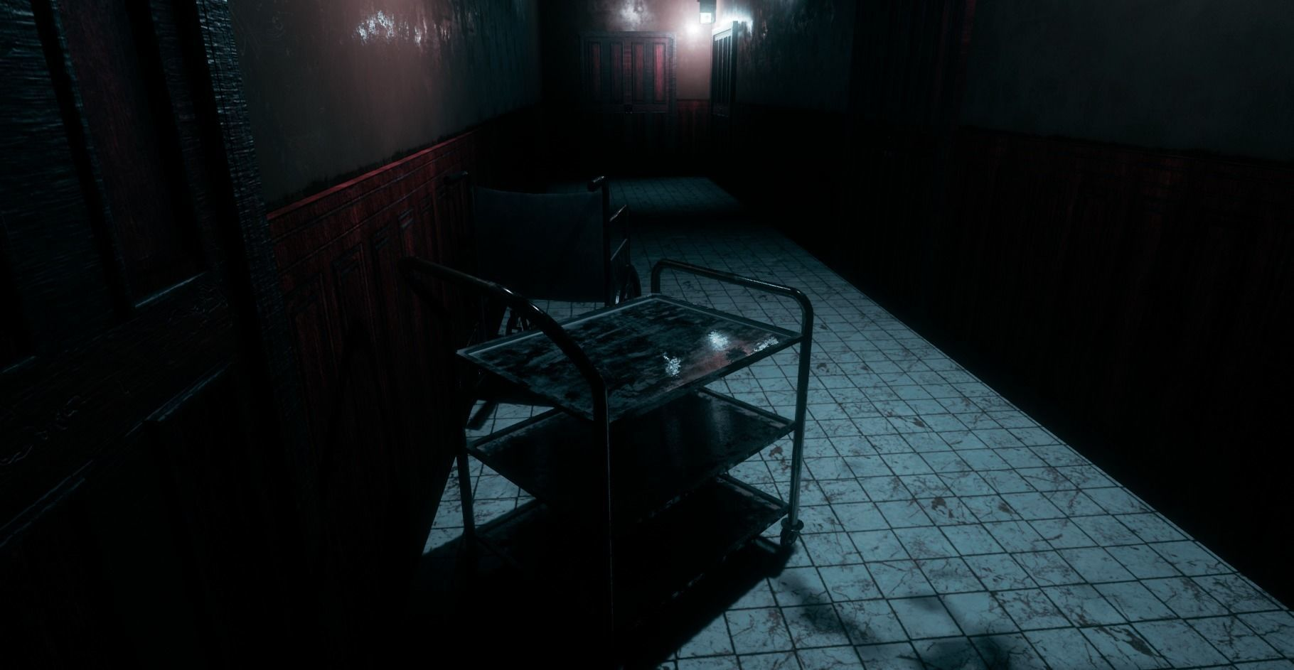 Low poly interior horror scene hallway